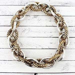 TWO-TONE ROPE TEXTURED CHAIN LINK BRACELET
